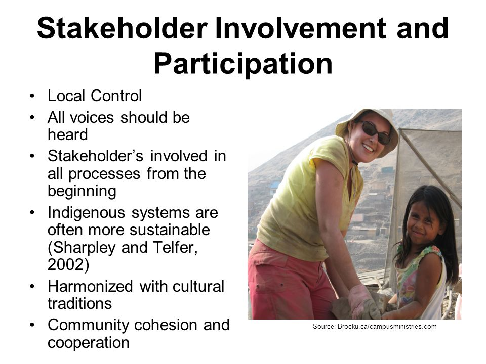 Stakeholder Involvement and Participation