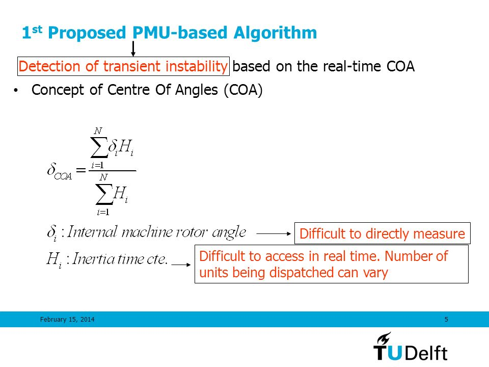1st Proposed PMU-based Algorithm