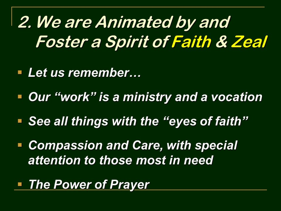 We are Animated by and Foster a Spirit of Faith & Zeal