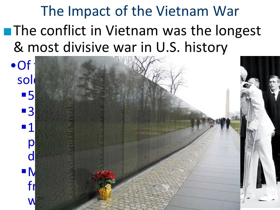 the impact of the vietnam war on the people of america In the aftermath of the vietnam war, in our opinion, the only group of people who had a positive outcome was the vietnamese americans) and others vietnamese communities in the free world) after the fall of saigon in april 1975, the united stated extended its generous hand, accepting thousands of vietnamese refugees as citizens of this great nation.