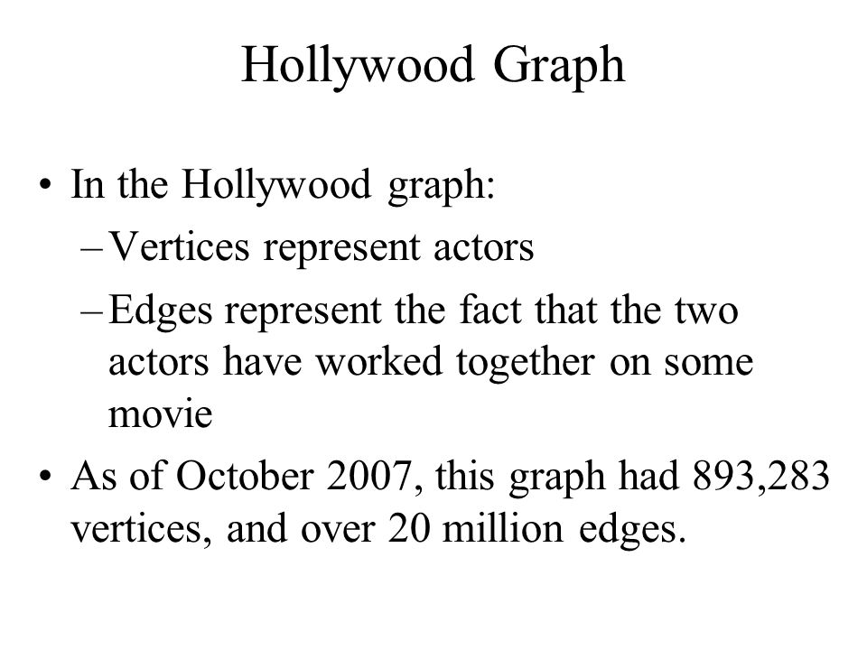 Hollywood Graph In the Hollywood graph: Vertices represent actors