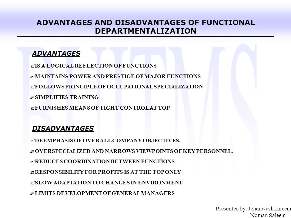 disadvantages of functional departmentalization