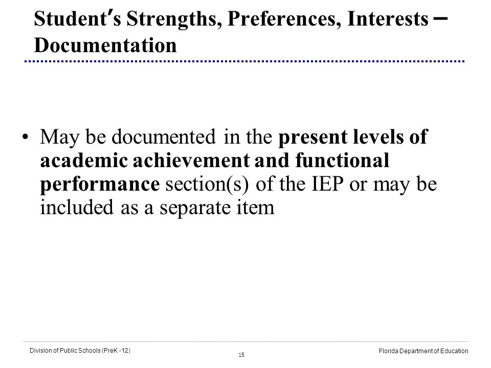 Student's Strengths, Preferences, Interests – Documentation
