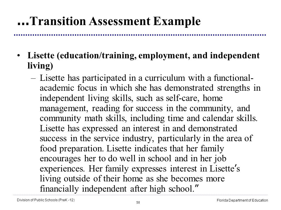 …Transition Assessment Example
