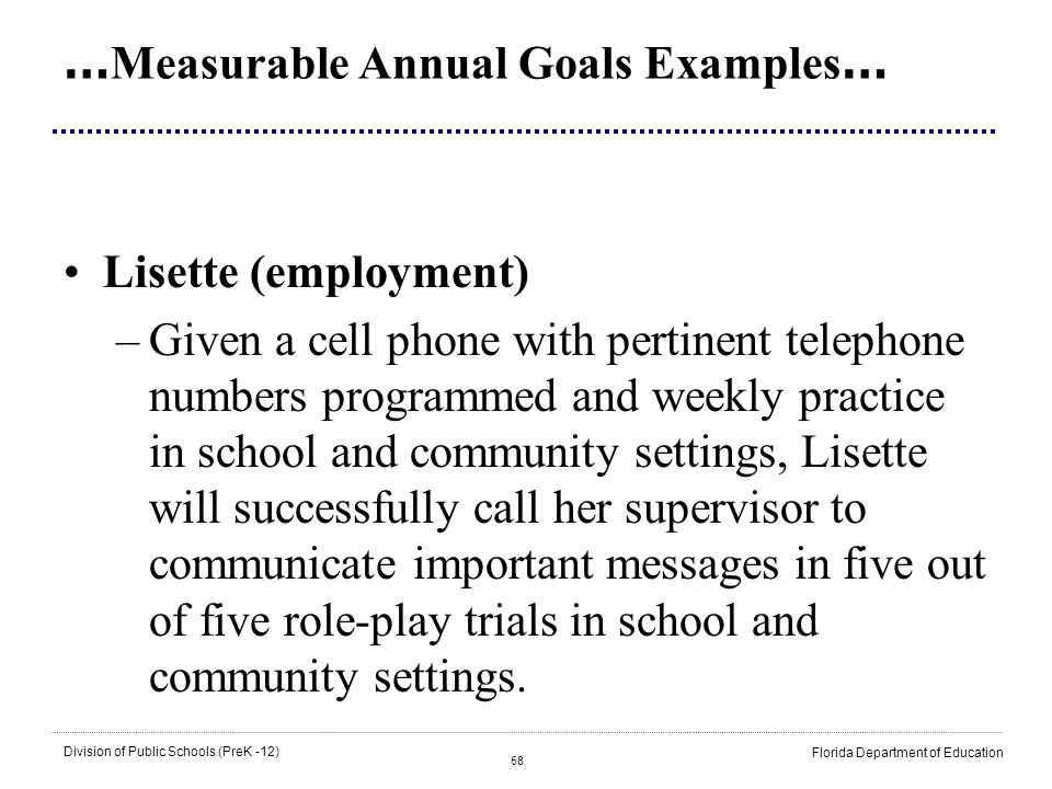 …Measurable Annual Goals Examples…