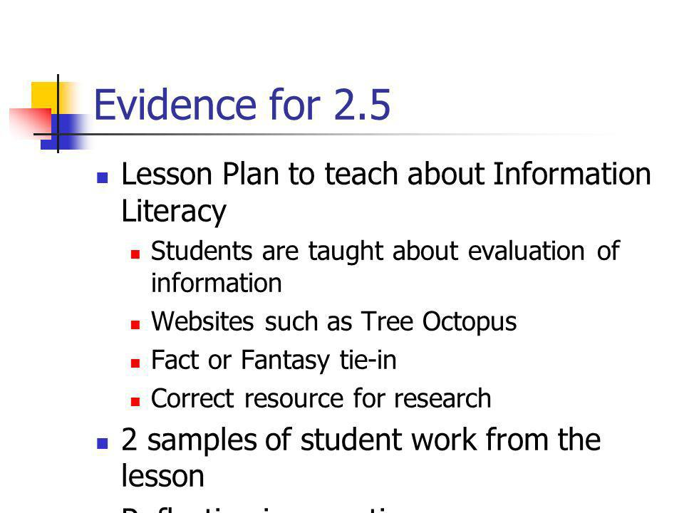 Evidence for 2.5 Lesson Plan to teach about Information Literacy