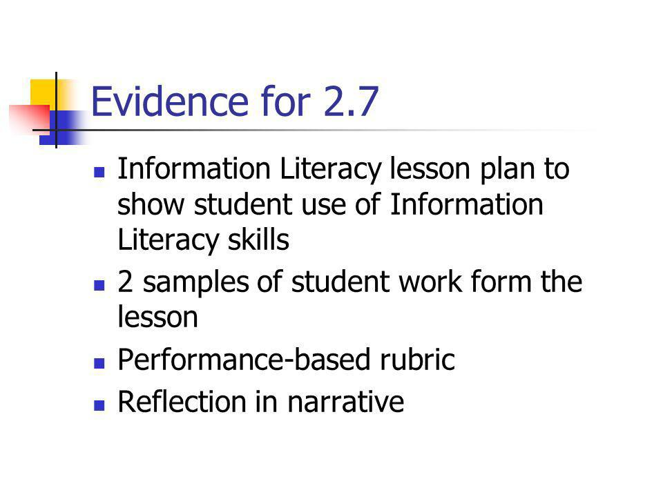 Evidence for 2.7 Information Literacy lesson plan to show student use of Information Literacy skills.