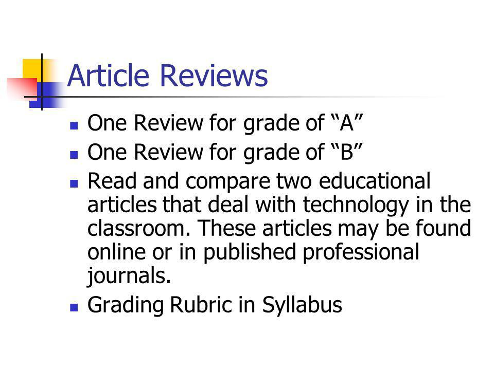 Article Reviews One Review for grade of A