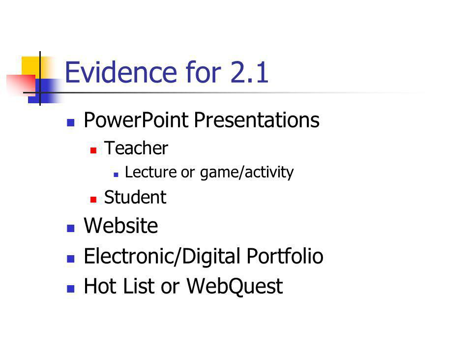 Evidence for 2.1 PowerPoint Presentations Website