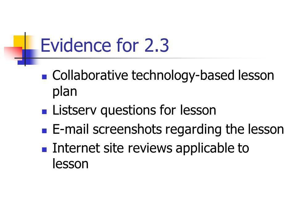 Evidence for 2.3 Collaborative technology-based lesson plan