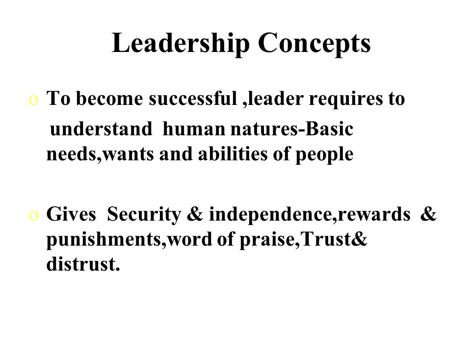 Leadership Concepts To become successful ,leader requires to