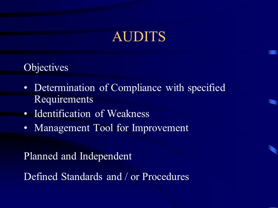 AUDITS Objectives. Determination of Compliance with specified Requirements. Identification of Weakness.