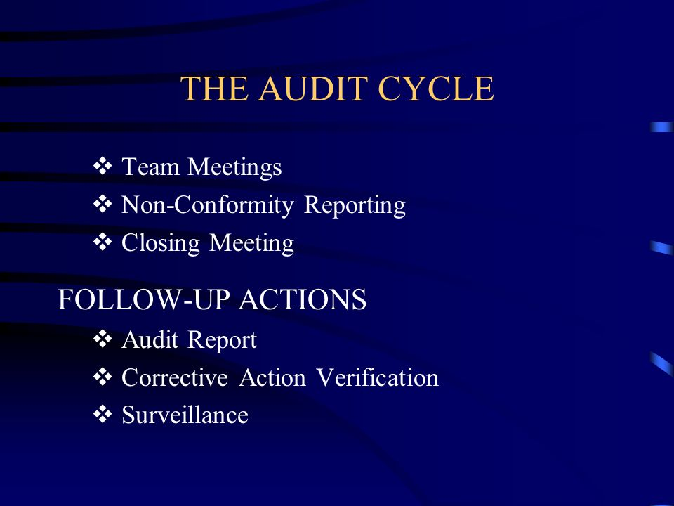 THE AUDIT CYCLE FOLLOW-UP ACTIONS Team Meetings
