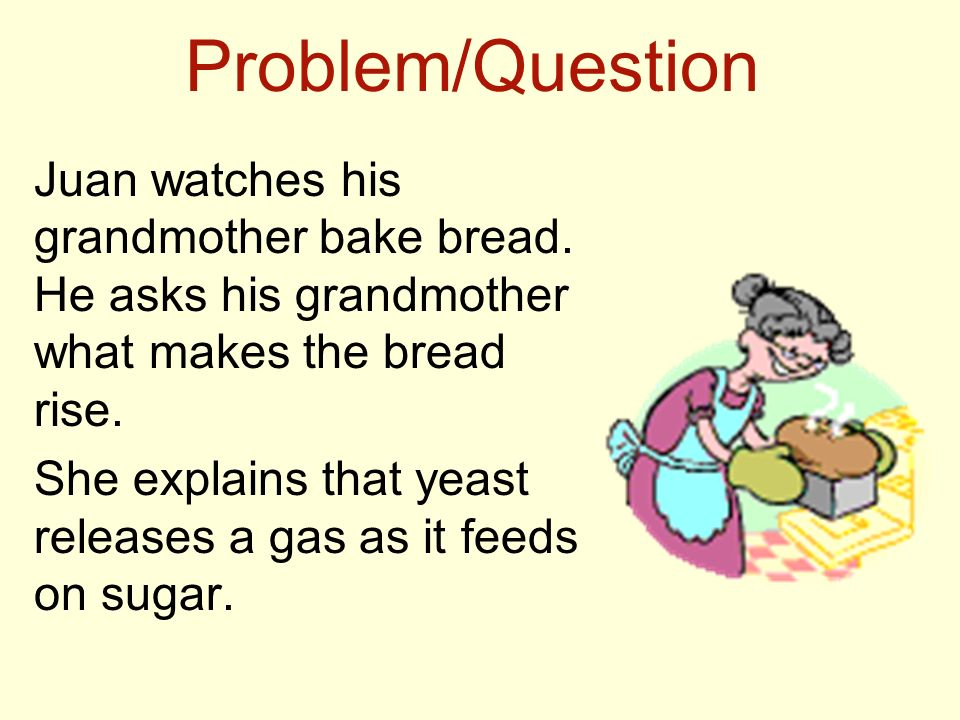 Problem/Question Juan watches his grandmother bake bread. He asks his grandmother what makes the bread rise.