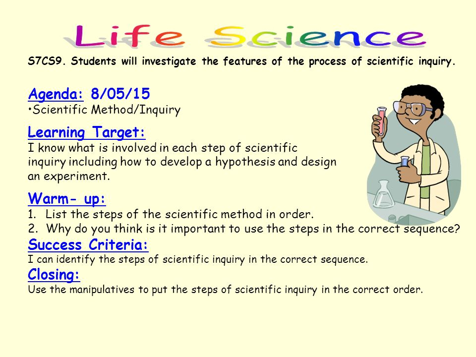 Life Science Agenda: 8/05/15 Learning Target: Warm- up: