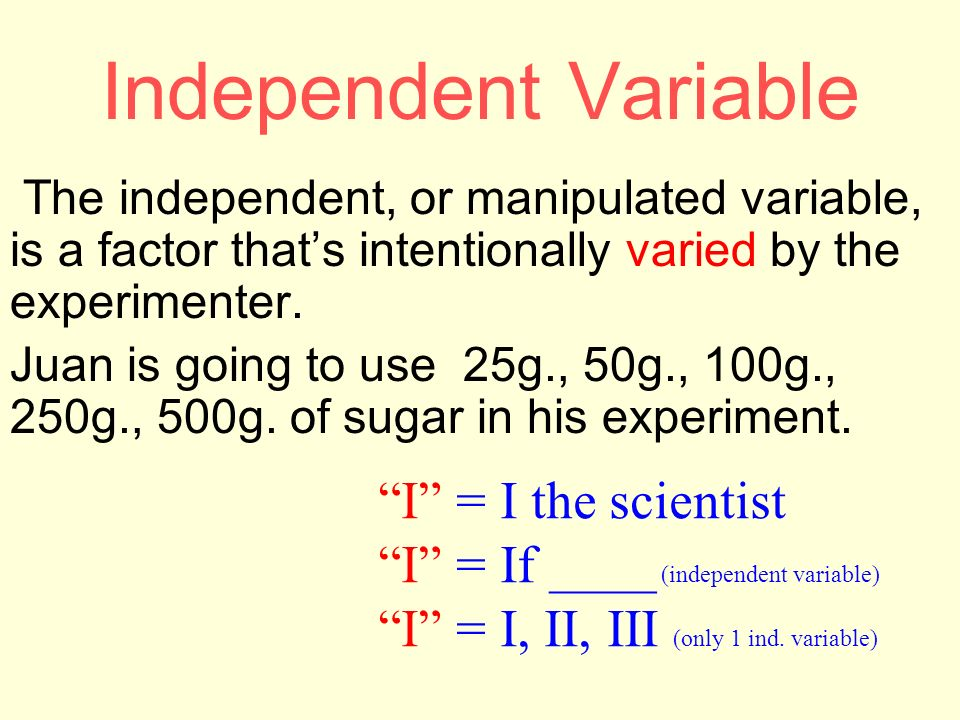 Independent Variable I = I the scientist