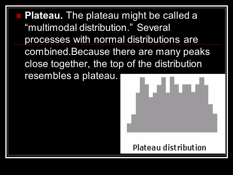 Plateau. The plateau might be called a multimodal distribution