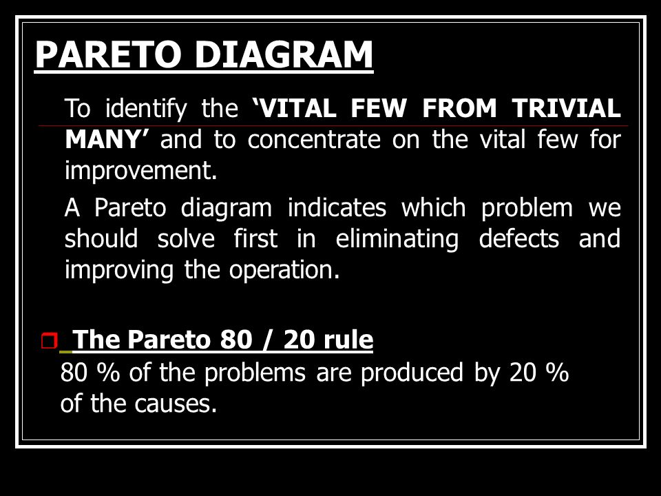 PARETO DIAGRAM To identify the 'VITAL FEW FROM TRIVIAL MANY' and to concentrate on the vital few for improvement.