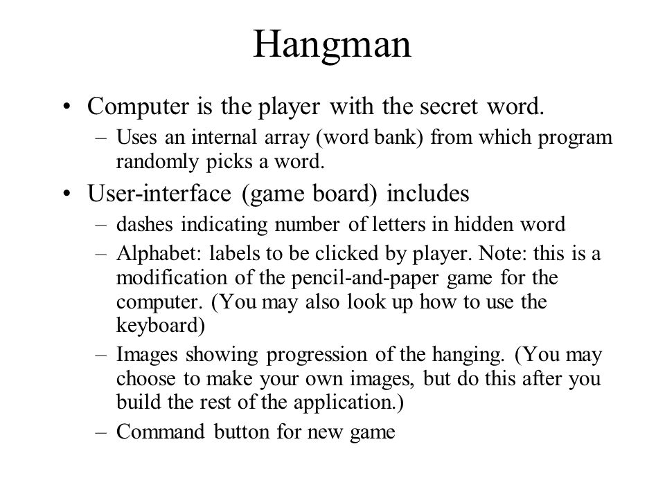 Visual basic games prepare for hangman ppt video online download 3 hangman solutioingenieria Image collections