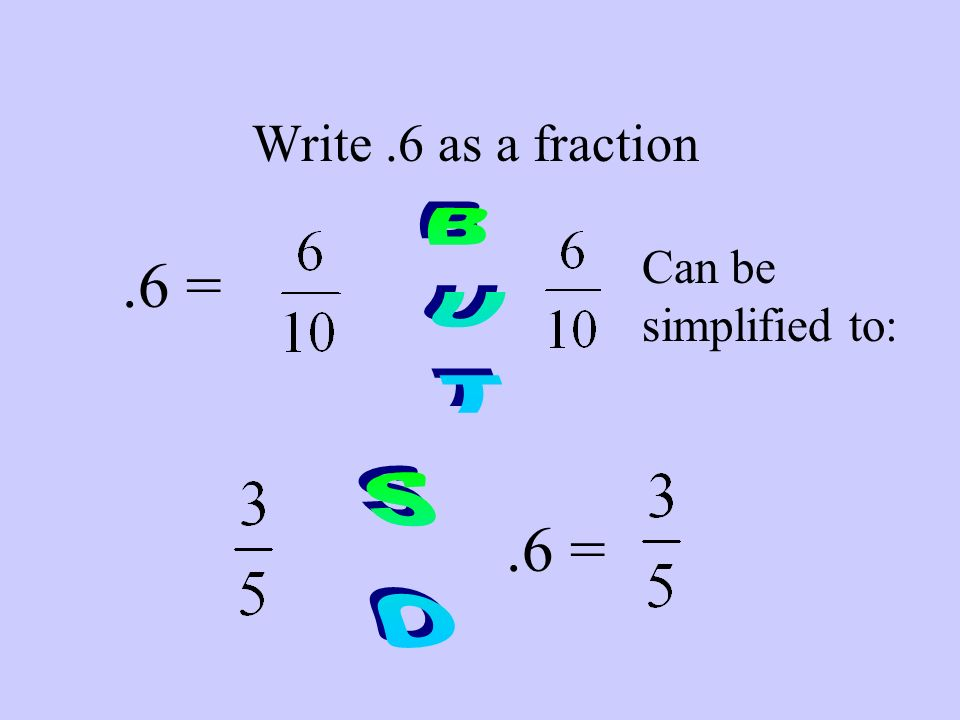 As A Fraction 6 Can Be Simplified To But 6 So