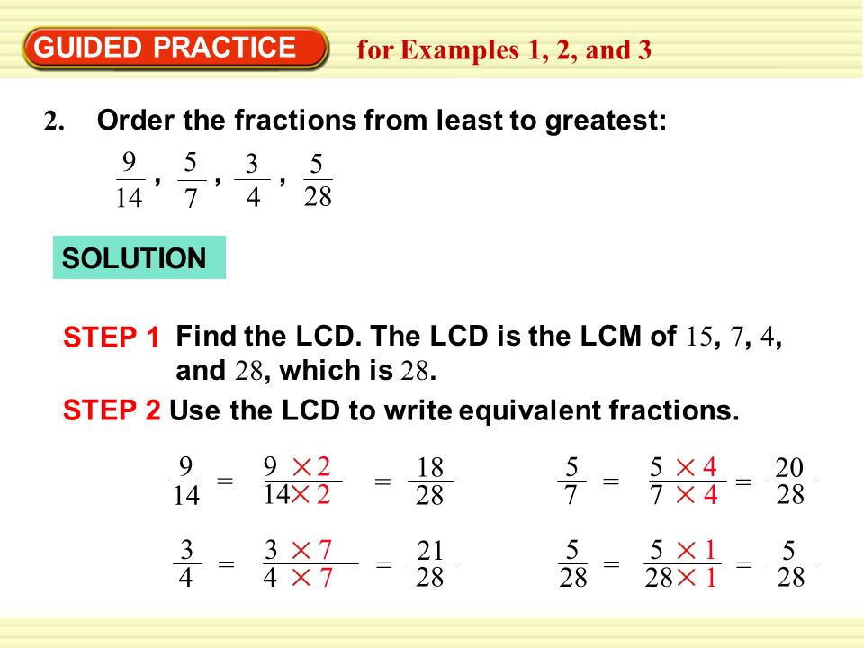 Example 1 Comparing Fractions Using The Lcd Ppt Video Online Download