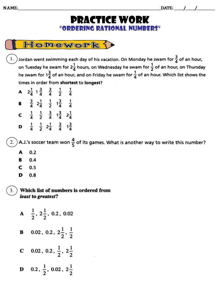 Lesson 33 Comparing And Ordering Rational Numbers Answers
