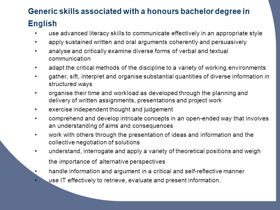 Generic skills associated with a honours bachelor degree in English
