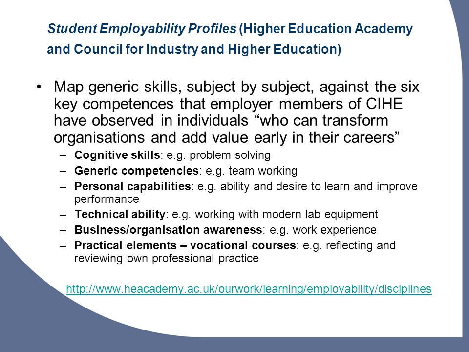 Student Employability Profiles (Higher Education Academy and Council for Industry and Higher Education)
