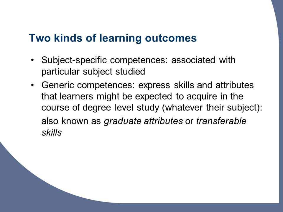 Two kinds of learning outcomes