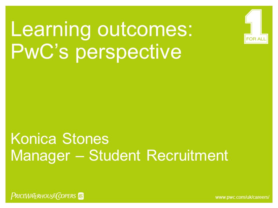 Learning outcomes: PwC's perspective