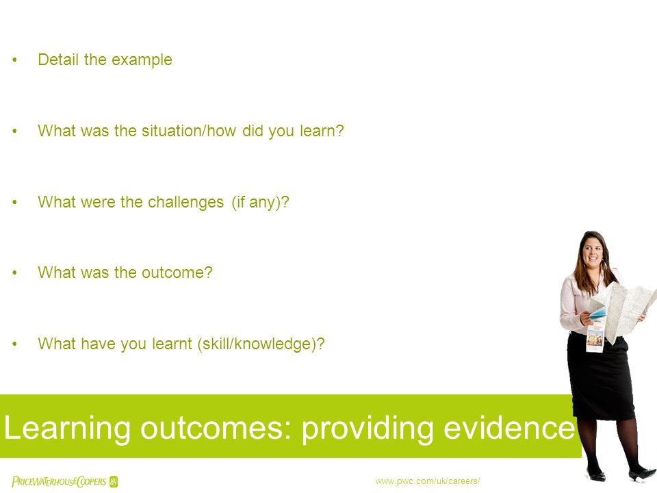 Learning outcomes: providing evidence