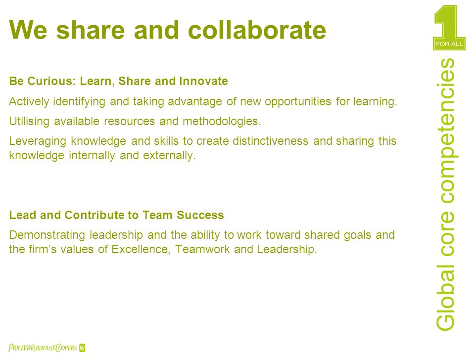 We share and collaborate