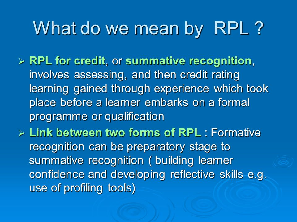 What do we mean by RPL