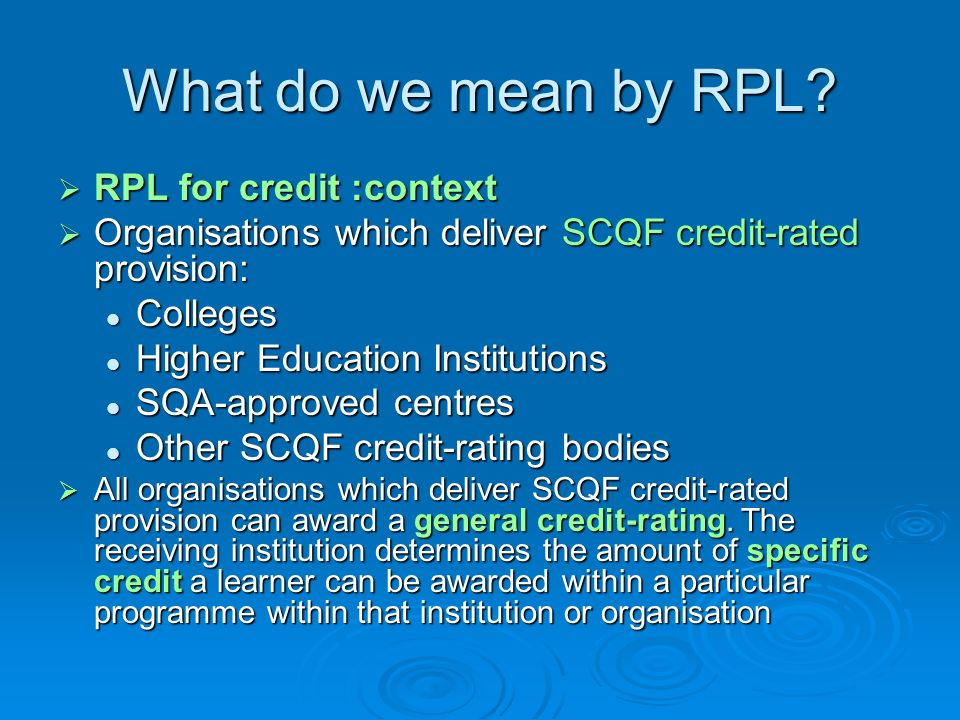 What do we mean by RPL RPL for credit :context