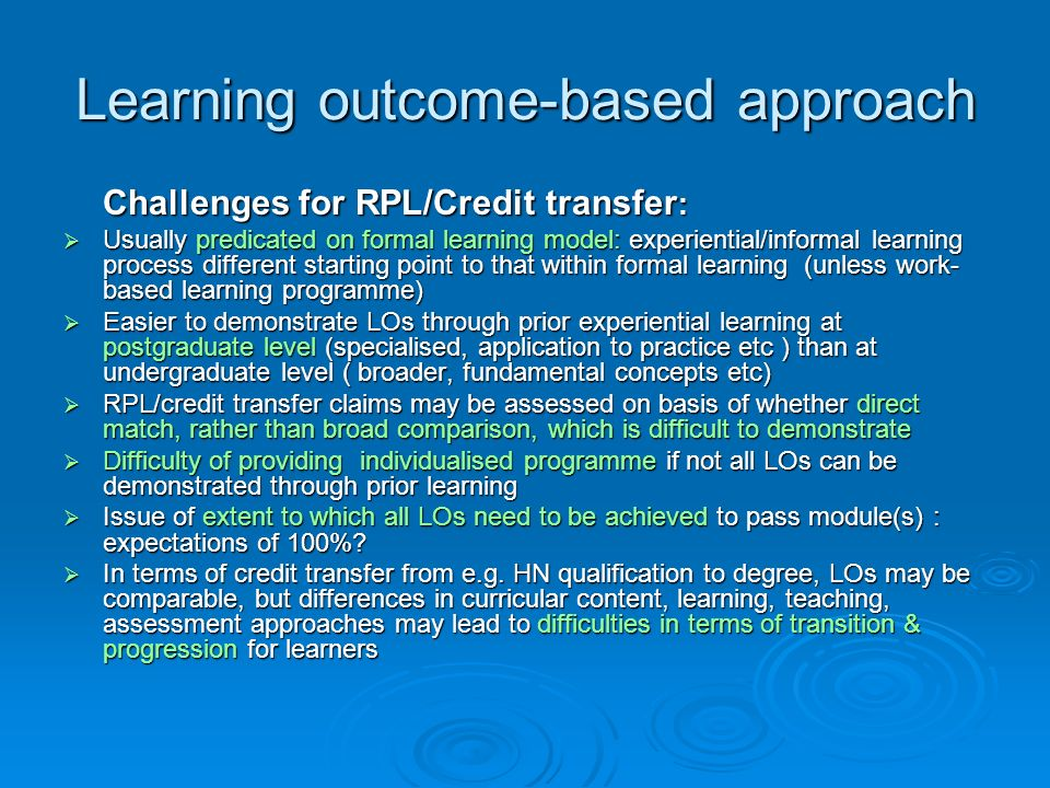 Learning outcome-based approach