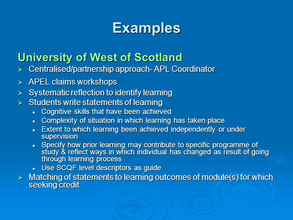 Examples University of West of Scotland