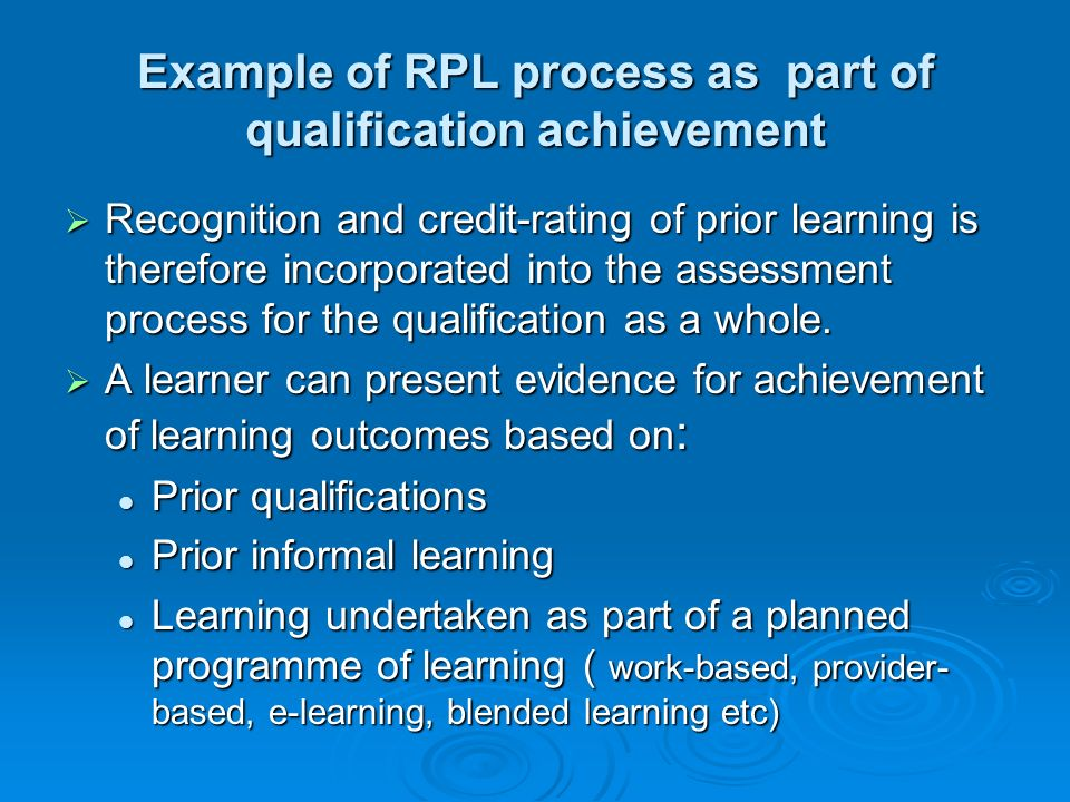 Example of RPL process as part of qualification achievement