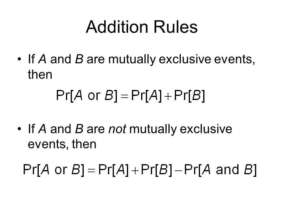 Addition Rules If A and B are mutually exclusive events, then