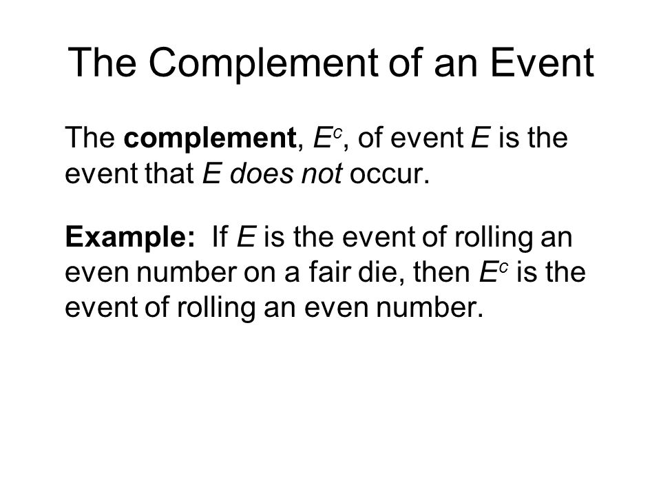 The Complement of an Event