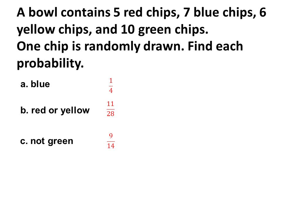 A bowl contains 5 red chips, 7 blue chips, 6 yellow chips, and 10 green chips. One chip is randomly drawn. Find each probability.