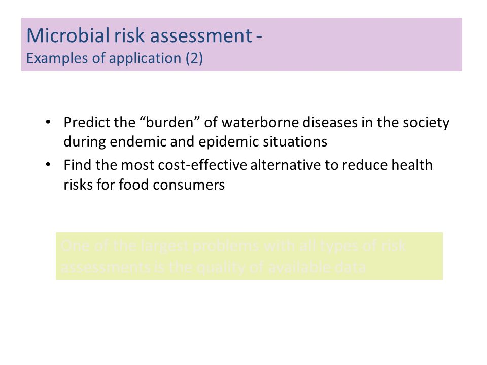 Microbial risk assessment - Examples of application (2)