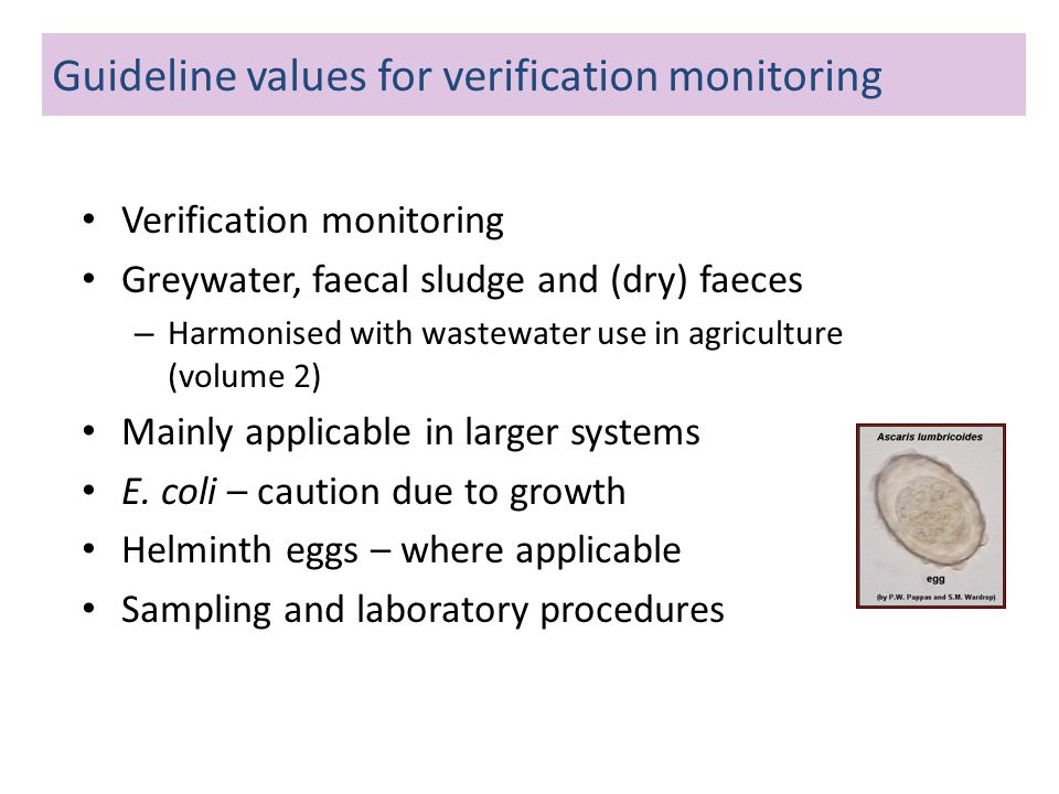 Guideline values for verification monitoring