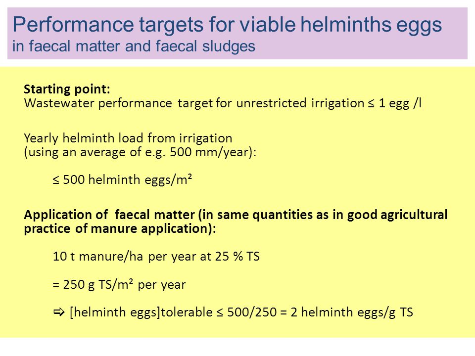 Performance targets for viable helminths eggs