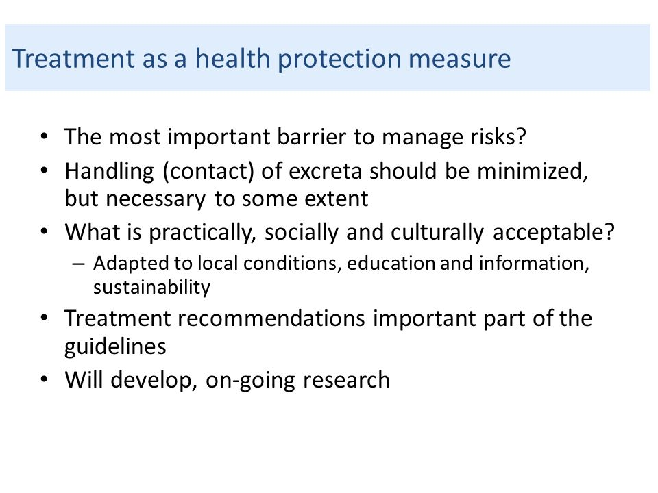 Treatment as a health protection measure