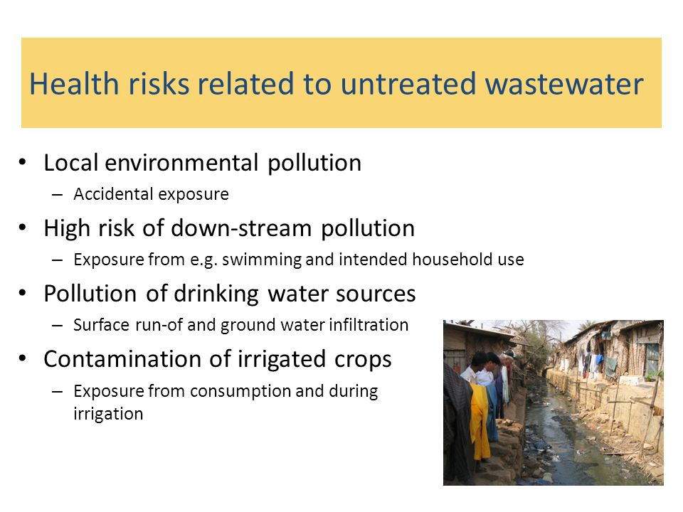 Health risks related to untreated wastewater