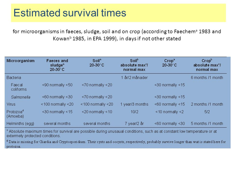 Estimated survival times