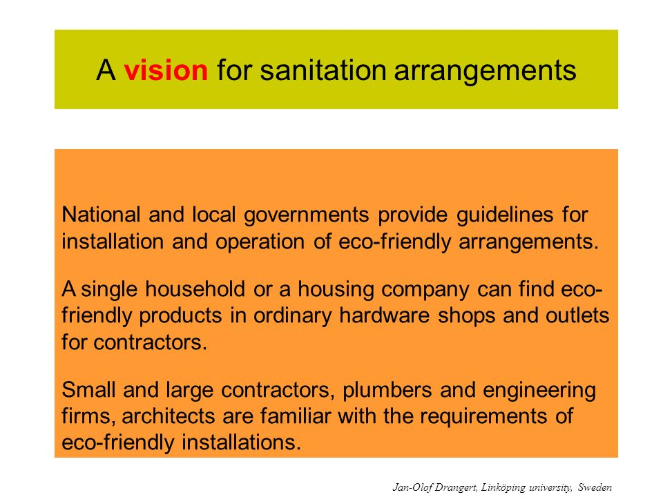 A vision for sanitation arrangements