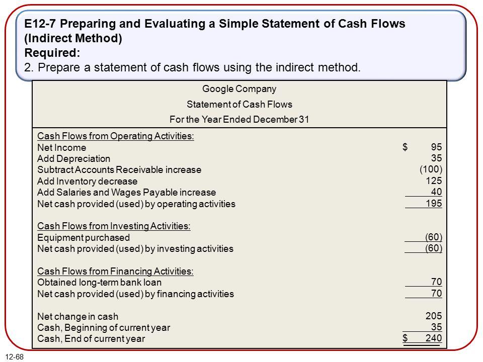 simple statement of cash flow