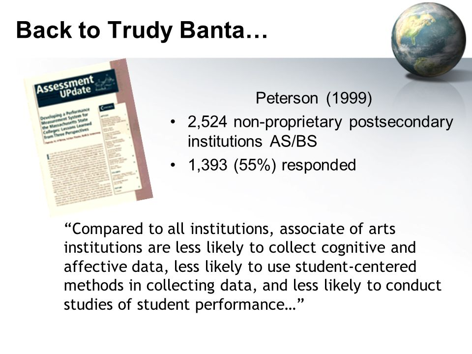 Back to Trudy Banta… Peterson (1999)