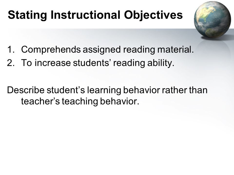 Stating Instructional Objectives
